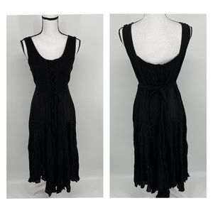 Just Cruisiuy Tie Front Tank Dress Black - A73